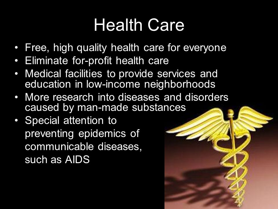 Health Care Free, high quality health care for everyone Eliminate for-profit health care Medical facilities to provide services and education in low-income neighborhoods More research into diseases and disorders caused by man-made substances Special attention to preventing epidemics of communicable diseases, such as AIDS