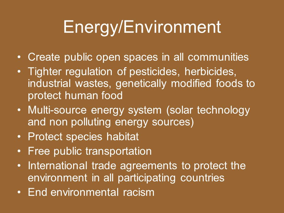 Energy/Environment Create public open spaces in all communities Tighter regulation of pesticides, herbicides, industrial wastes, genetically modified foods to protect human food Multi-source energy system (solar technology and non polluting energy sources) Protect species habitat Free public transportation International trade agreements to protect the environment in all participating countries End environmental racism