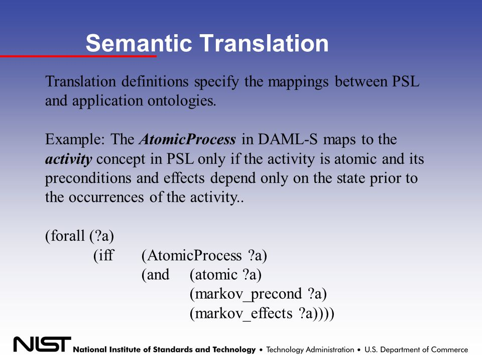 Semantic Translation Translation definitions specify the mappings between PSL and application ontologies.