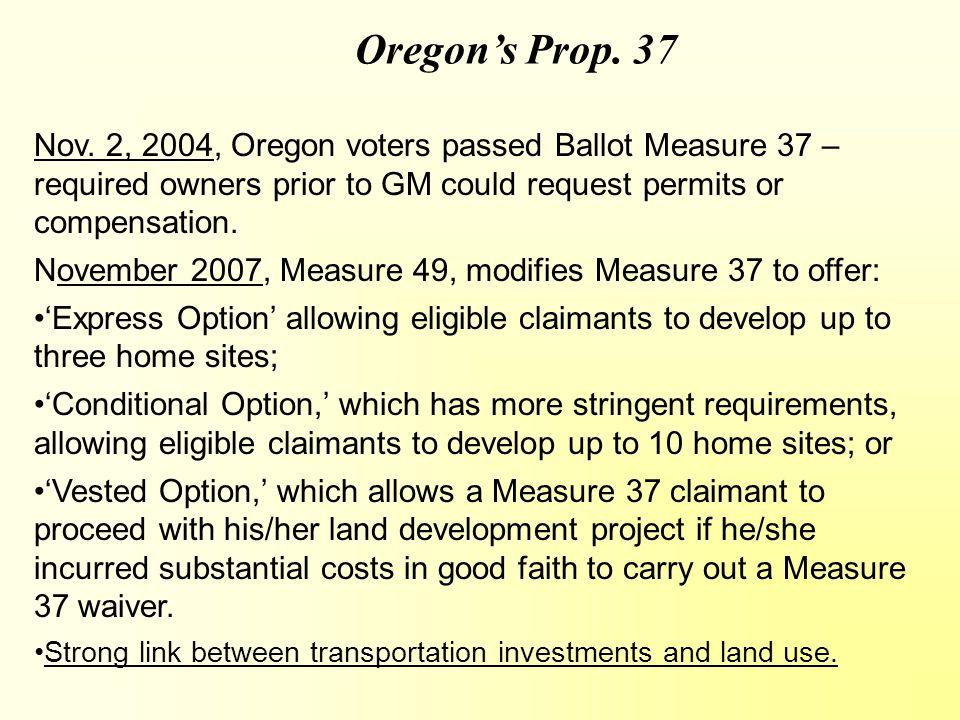 Oregon's Prop. 37 Nov.