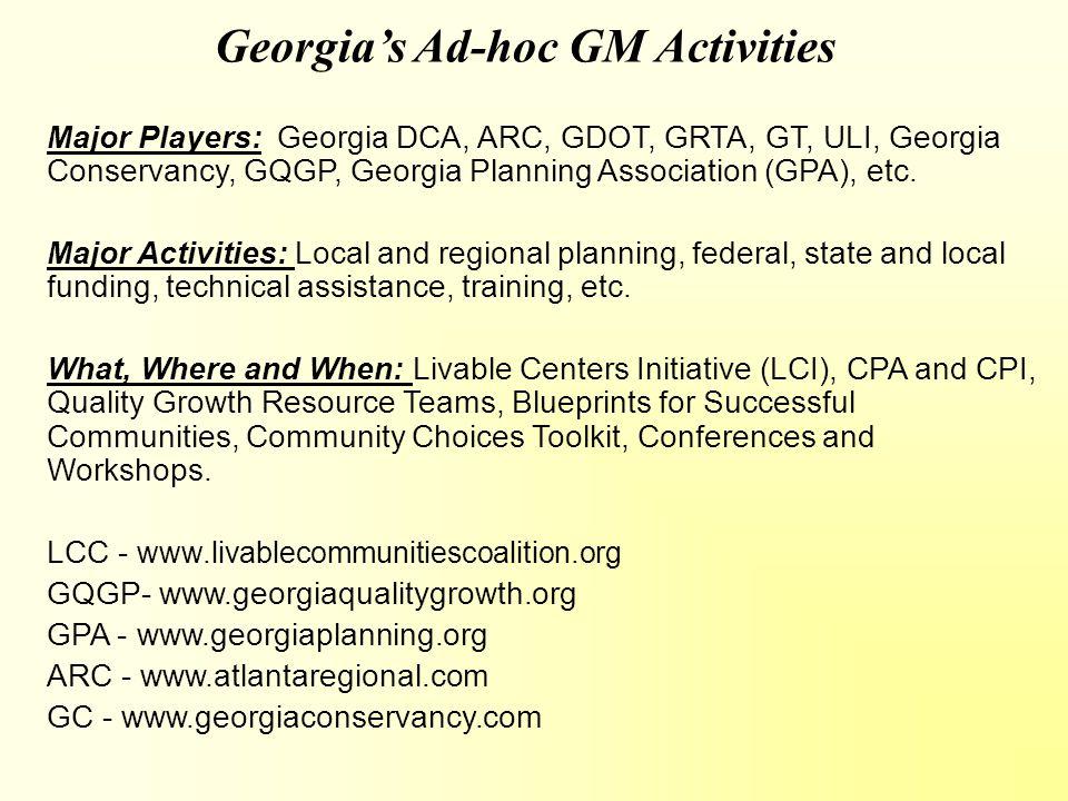 Georgia's Ad-hoc GM Activities Major Players: Georgia DCA, ARC, GDOT, GRTA, GT, ULI, Georgia Conservancy, GQGP, Georgia Planning Association (GPA), etc.