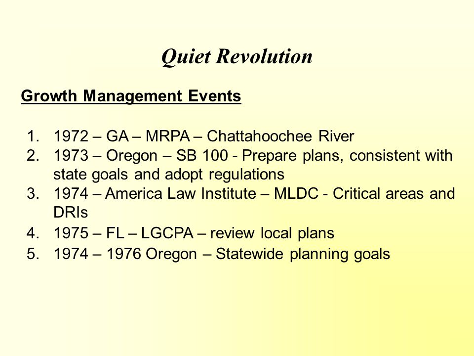 Washington's Planning Brief History: In 1990, Washington state passed their GM Act.