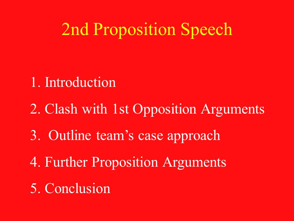 2nd Proposition Speech 1.Introduction 2.Clash with 1st Opposition Arguments 3.