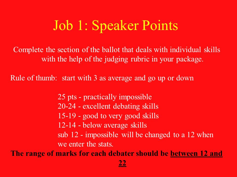 Job 1: Speaker Points Complete the section of the ballot that deals with individual skills with the help of the judging rubric in your package.