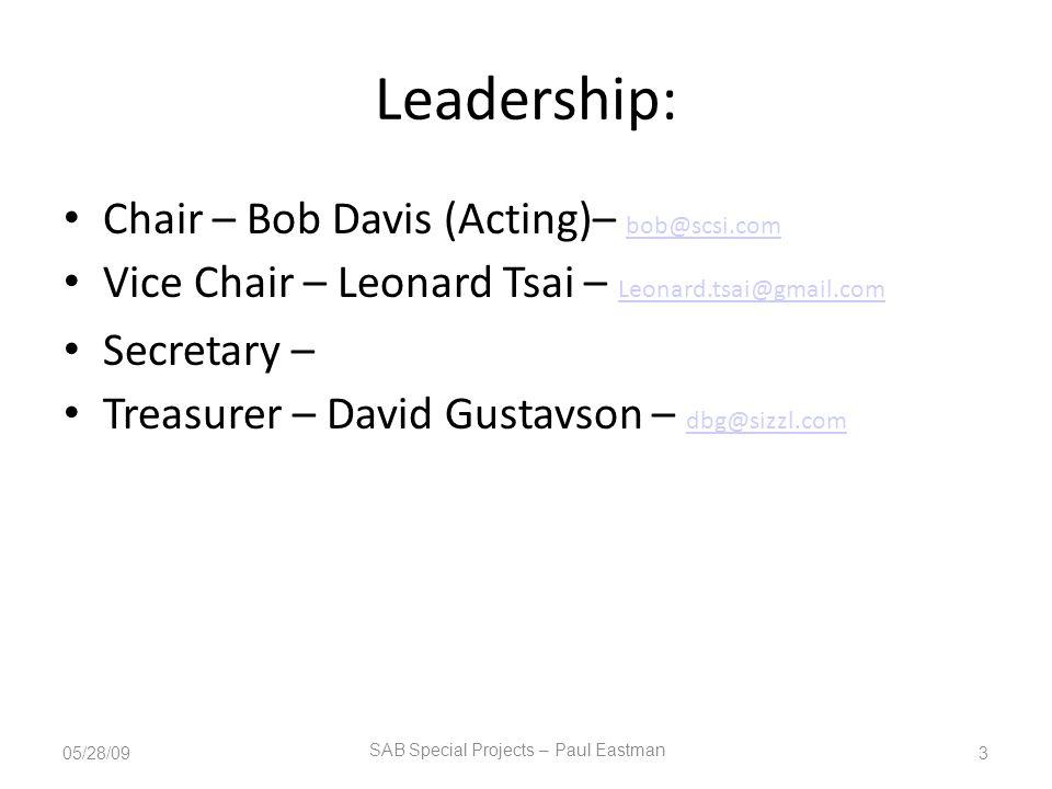 Leadership: Chair – Bob Davis (Acting)– bob@scsi.com bob@scsi.com Vice Chair – Leonard Tsai – Leonard.tsai@gmail.com Leonard.tsai@gmail.com Secretary – Treasurer – David Gustavson – dbg@sizzl.com dbg@sizzl.com 05/28/093 SAB Special Projects – Paul Eastman