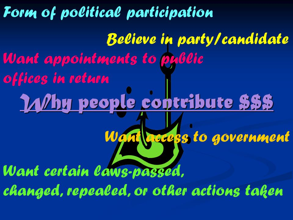 Private and Public Sources Private: 1. Small Contributors- ppl give $5-10 to campaigns 2.
