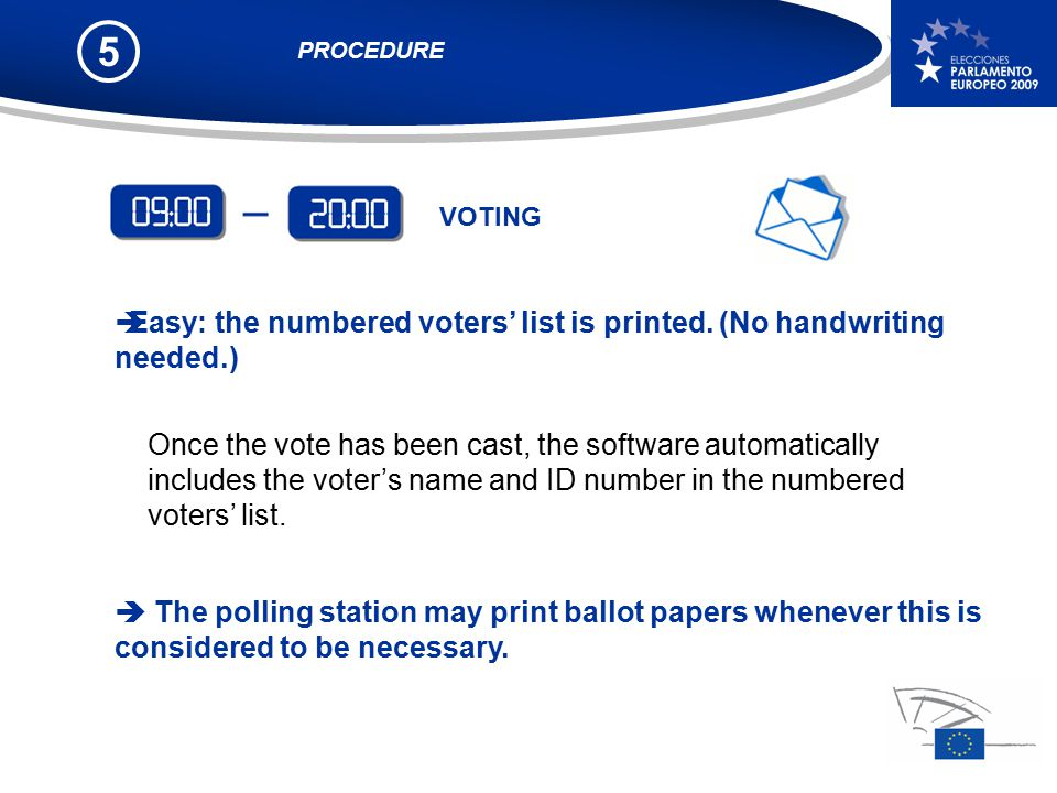 5 Once the vote has been cast, the software automatically includes the voter's name and ID number in the numbered voters' list.