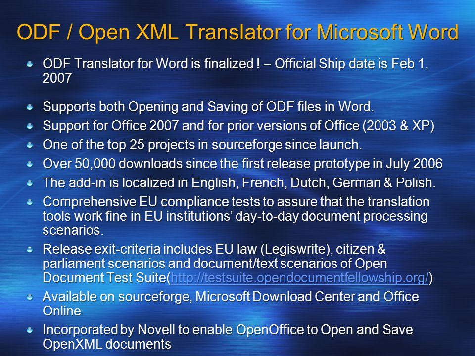 ODF Translator for Word is finalized .