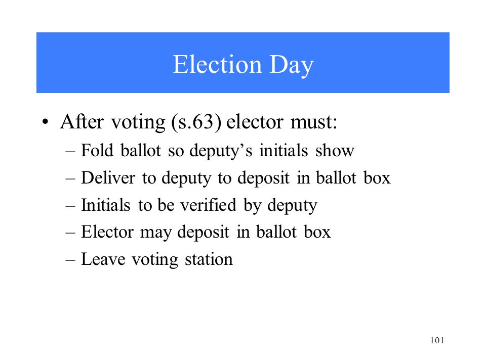 101 Election Day After voting (s.63) elector must: –Fold ballot so deputy's initials show –Deliver to deputy to deposit in ballot box –Initials to be verified by deputy –Elector may deposit in ballot box –Leave voting station