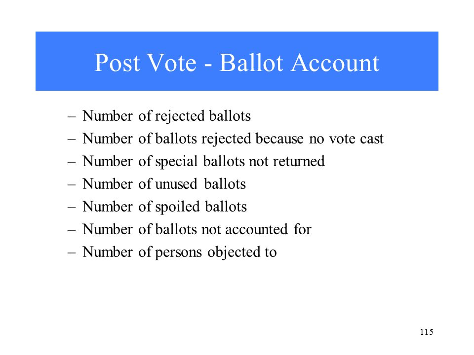 115 Post Vote - Ballot Account –Number of rejected ballots –Number of ballots rejected because no vote cast –Number of special ballots not returned –Number of unused ballots –Number of spoiled ballots –Number of ballots not accounted for –Number of persons objected to