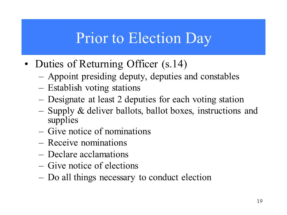 19 Prior to Election Day Duties of Returning Officer (s.14) –Appoint presiding deputy, deputies and constables –Establish voting stations –Designate at least 2 deputies for each voting station –Supply & deliver ballots, ballot boxes, instructions and supplies –Give notice of nominations –Receive nominations –Declare acclamations –Give notice of elections –Do all things necessary to conduct election