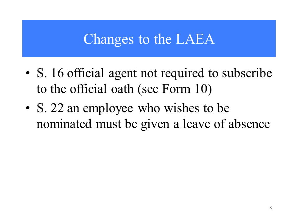 5 Changes to the LAEA S.