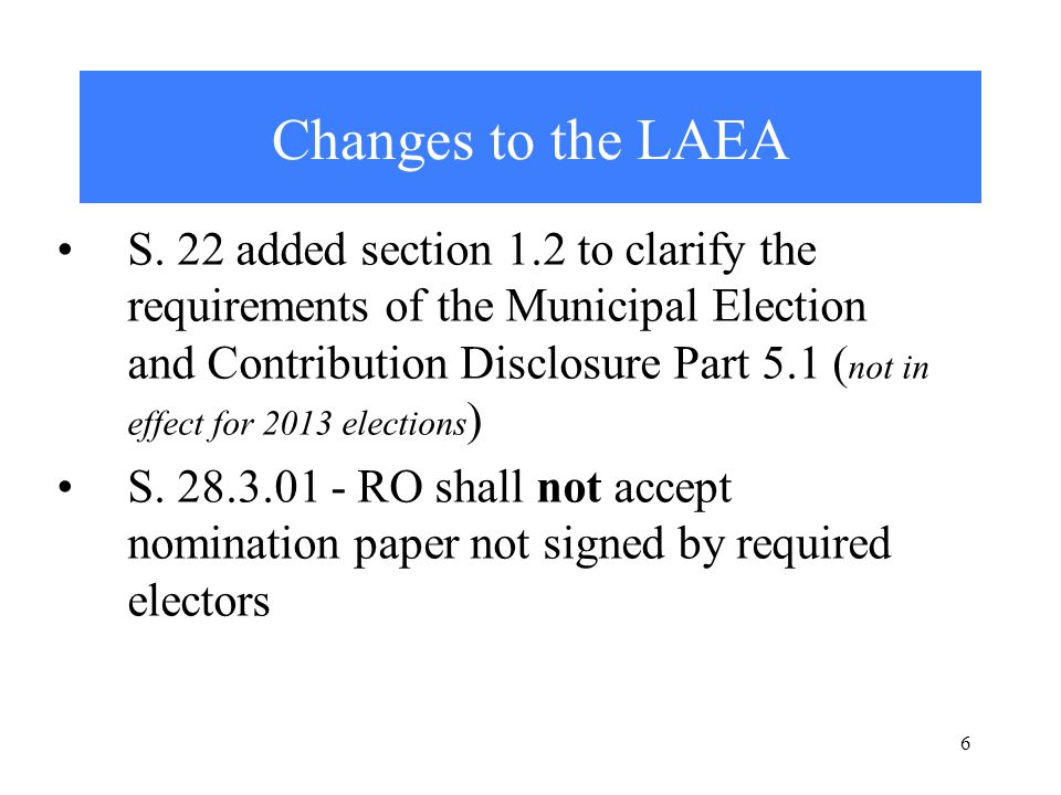 6 Changes to the LAEA S.