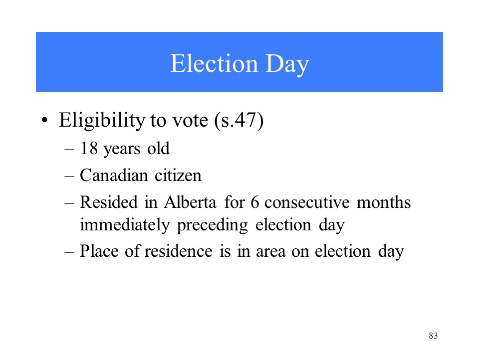 83 Election Day Eligibility to vote (s.47) –18 years old –Canadian citizen –Resided in Alberta for 6 consecutive months immediately preceding election day –Place of residence is in area on election day