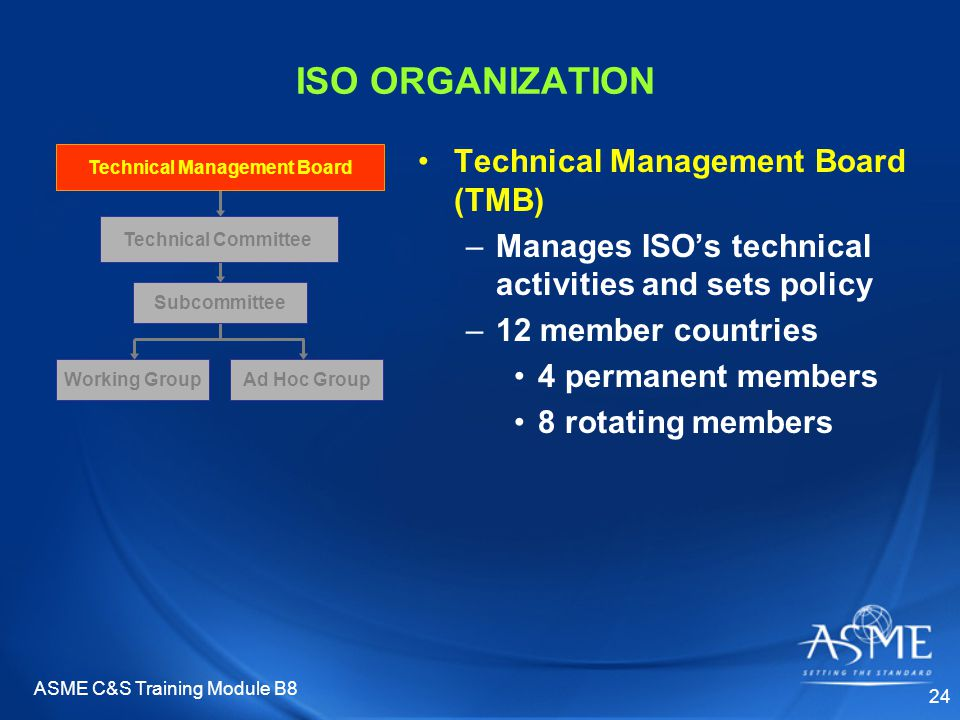 ASME C&S Training Module B8 24 ISO ORGANIZATION Technical Management Board (TMB) –Manages ISO's technical activities and sets policy –12 member countr