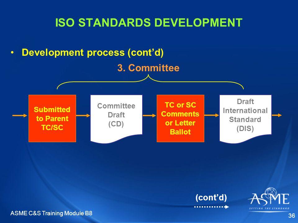 ASME C&S Training Module B8 36 Draft International Standard (DIS) TC or SC Comments or Letter Ballot ISO STANDARDS DEVELOPMENT Development process (co