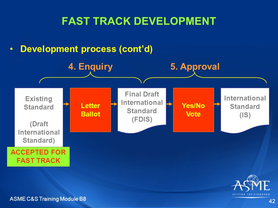 ASME C&S Training Module B8 42 Yes/No Vote 5. Approval International Standard (IS) Letter Ballot Final Draft International Standard (FDIS) FAST TRACK