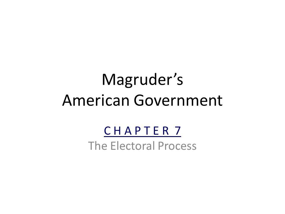 Magruder's American Government C H A P T E R 7 The Electoral Process