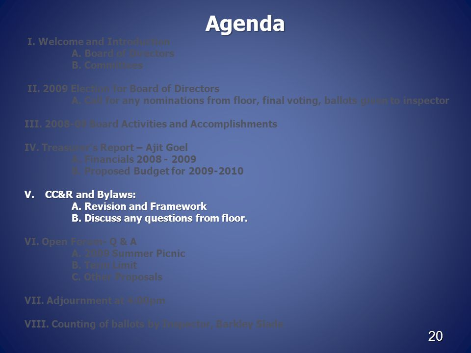 20 Agenda I. Welcome and Introduction A. Board of Directors B. Committees II. 2009 Election for Board of Directors A. Call for any nominations from fl