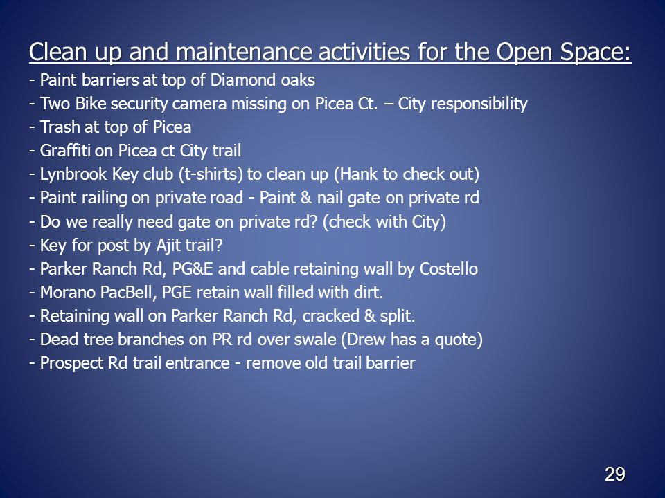 29 Clean up and maintenance activities for the Open Space: - Paint barriers at top of Diamond oaks - Two Bike security camera missing on Picea Ct.