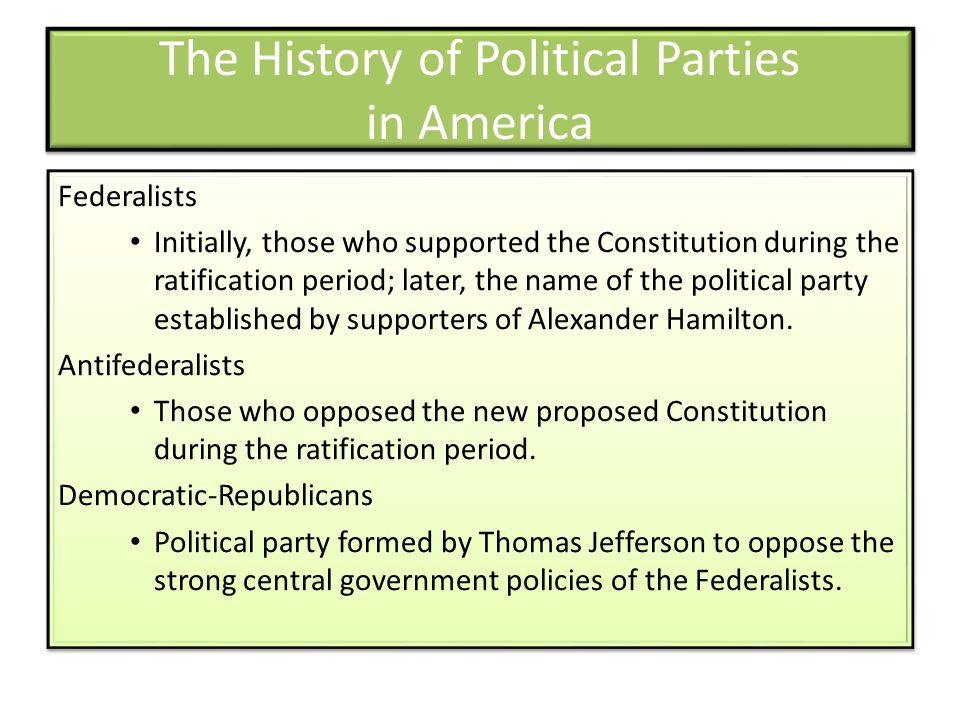 The History of Political Parties in America Federalists Initially, those who supported the Constitution during the ratification period; later, the name of the political party established by supporters of Alexander Hamilton.