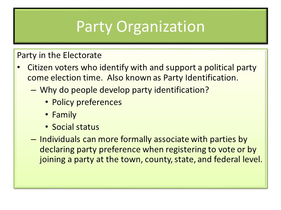 Party Organization Party in the Electorate Citizen voters who identify with and support a political party come election time.