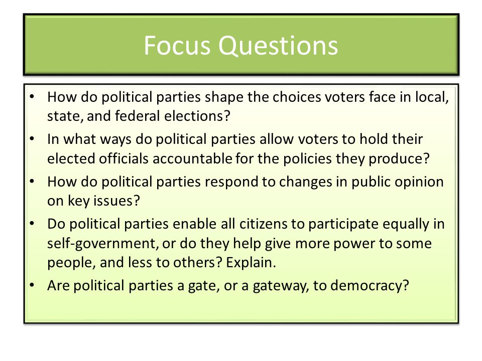 Focus Questions How do political parties shape the choices voters face in local, state, and federal elections.