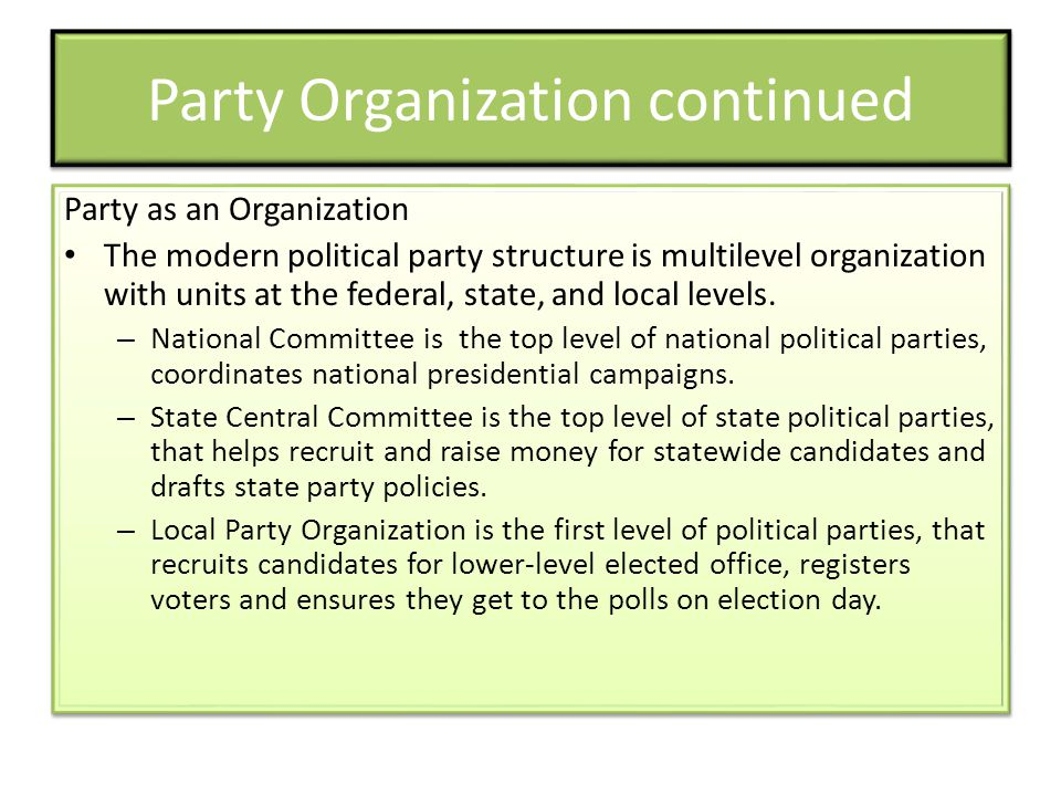 Party as an Organization The modern political party structure is multilevel organization with units at the federal, state, and local levels.