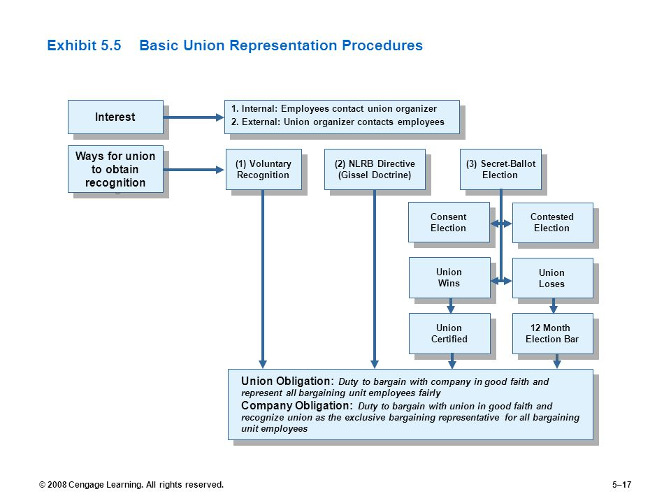 © 2008 Cengage Learning. All rights reserved.5–17 Exhibit 5.5Basic Union Representation Procedures Interest 1. Internal: Employees contact union organ
