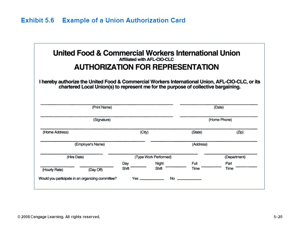 © 2008 Cengage Learning. All rights reserved.5–20 Exhibit 5.6Example of a Union Authorization Card