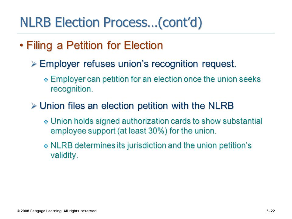 © 2008 Cengage Learning. All rights reserved.5–22 NLRB Election Process…(cont'd) Filing a Petition for ElectionFiling a Petition for Election  Employ
