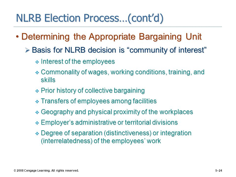 © 2008 Cengage Learning. All rights reserved.5–24 NLRB Election Process…(cont'd) Determining the Appropriate Bargaining UnitDetermining the Appropriat