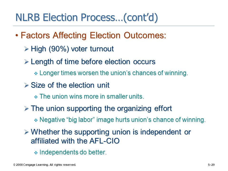 © 2008 Cengage Learning. All rights reserved.5–29 NLRB Election Process…(cont'd) Factors Affecting Election Outcomes:Factors Affecting Election Outcom