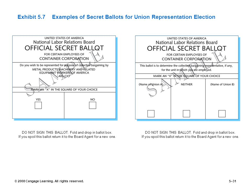 © 2008 Cengage Learning. All rights reserved.5–31 Exhibit 5.7Examples of Secret Ballots for Union Representation Election DO NOT SIGN THIS BALLOT. Fol