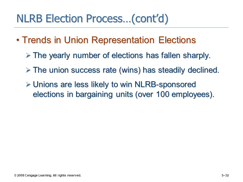 © 2008 Cengage Learning. All rights reserved.5–32 NLRB Election Process…(cont'd) Trends in Union Representation ElectionsTrends in Union Representatio