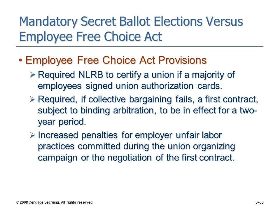 © 2008 Cengage Learning. All rights reserved.5–35 Mandatory Secret Ballot Elections Versus Employee Free Choice Act Employee Free Choice Act Provision