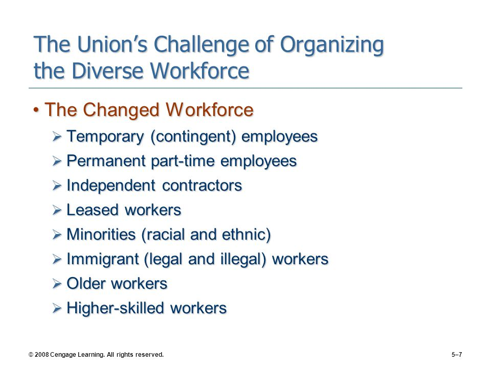© 2008 Cengage Learning. All rights reserved.5–7 The Union's Challenge of Organizing the Diverse Workforce The Changed WorkforceThe Changed Workforce