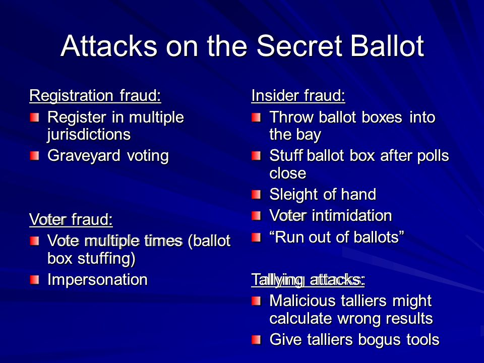 Attacks on the Secret Ballot Registration fraud: Register in multiple jurisdictions Graveyard voting Voter fraud: Vote multiple times (ballot box stuffing) Impersonation Insider fraud: Throw ballot boxes into the bay Stuff ballot box after polls close Sleight of hand Voter intimidation Run out of ballots Tallying attacks: Malicious talliers might calculate wrong results Give talliers bogus tools Registration fraud: Register in multiple jurisdictions Graveyard voting Voter fraud: Vote multiple times (ballot box stuffing) Impersonation Insider fraud: Throw ballot boxes into the bay Stuff ballot box after polls close Sleight of hand Voter intimidation Run out of ballots Tallying attacks: Malicious talliers might calculate wrong results Give talliers bogus tools