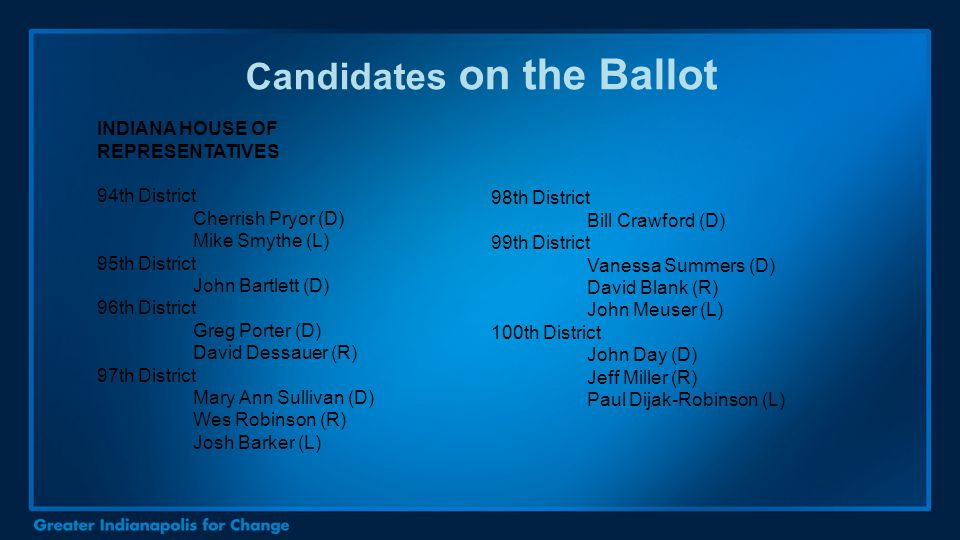 Candidates on the Ballot INDIANA HOUSE OF REPRESENTATIVES 94th District Cherrish Pryor (D) Mike Smythe (L) 95th District John Bartlett (D) 96th Distri