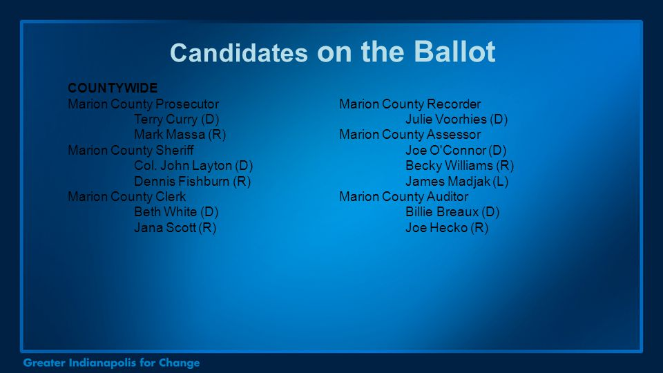Candidates on the Ballot COUNTYWIDE Marion County Prosecutor Terry Curry (D) Mark Massa (R) Marion County Sheriff Col. John Layton (D) Dennis Fishburn