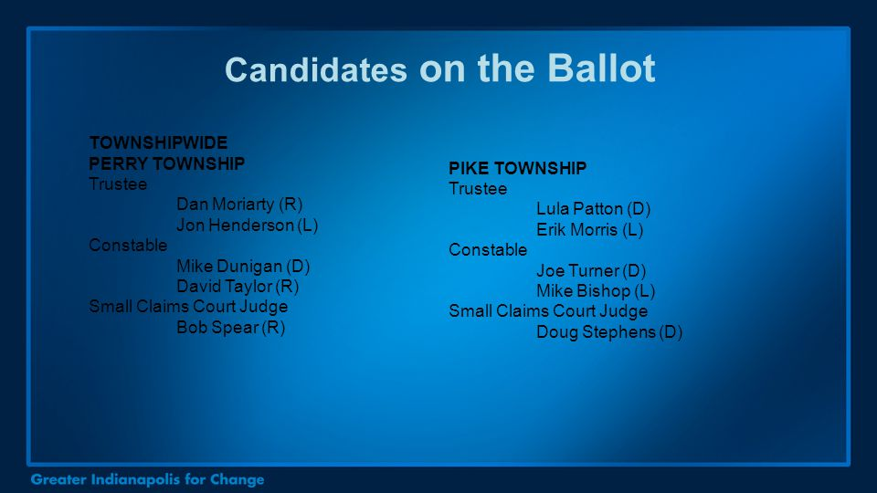 Candidates on the Ballot TOWNSHIPWIDE PERRY TOWNSHIP Trustee Dan Moriarty (R) Jon Henderson (L) Constable Mike Dunigan (D) David Taylor (R) Small Clai