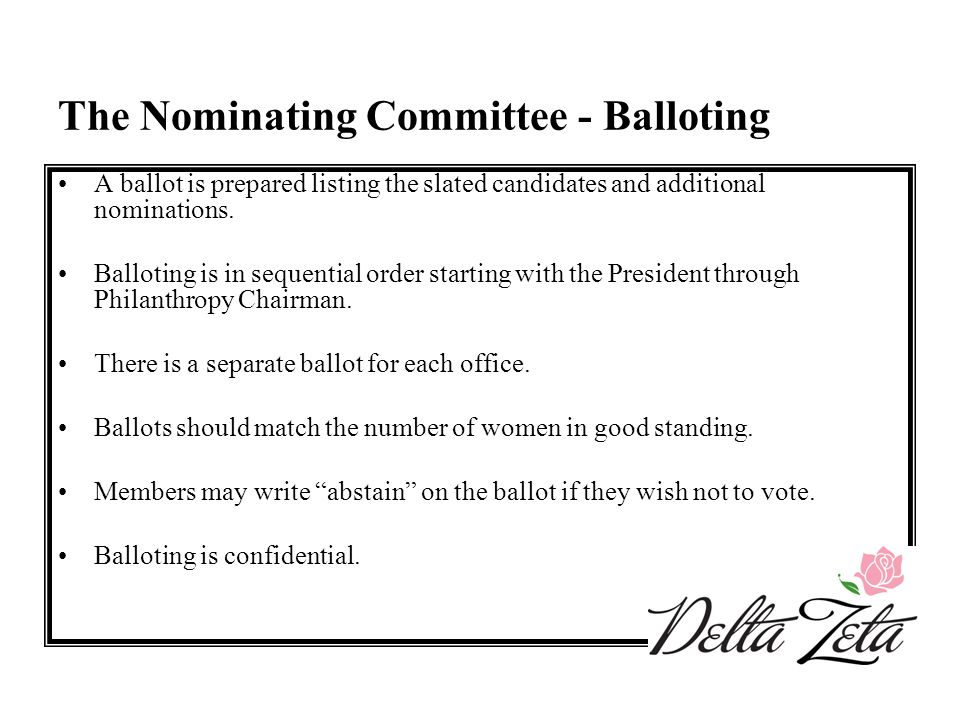 The Nominating Committee - Balloting A ballot is prepared listing the slated candidates and additional nominations. Balloting is in sequential order s