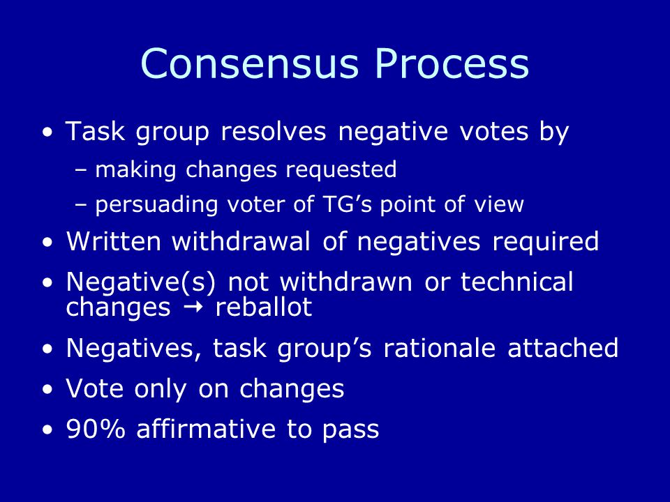 Consensus Process Task group resolves negative votes by –making changes requested –persuading voter of TG's point of view Written withdrawal of negatives required Negative(s) not withdrawn or technical changes  reballot Negatives, task group's rationale attached Vote only on changes 90% affirmative to pass