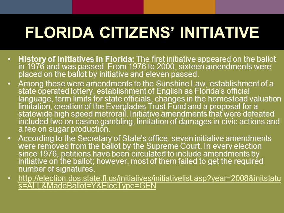 History of Initiatives in Florida: The first initiative appeared on the ballot in 1976 and was passed.
