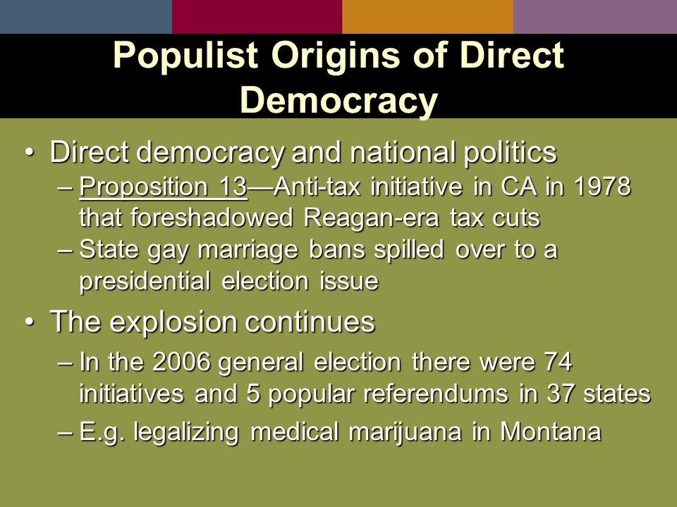 Direct democracy and national politicsDirect democracy and national politics –Proposition 13—Anti-tax initiative in CA in 1978 that foreshadowed Reagan-era tax cuts –State gay marriage bans spilled over to a presidential election issue The explosion continuesThe explosion continues –In the 2006 general election there were 74 initiatives and 5 popular referendums in 37 states –E.g.