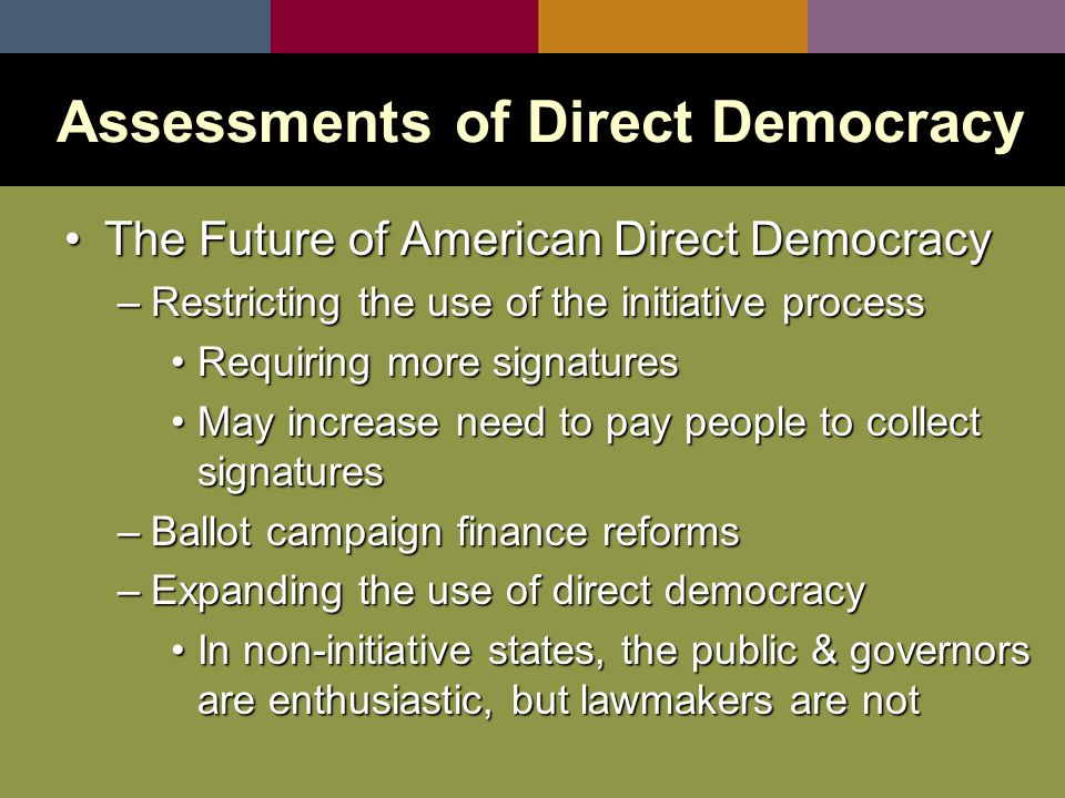 The Future of American Direct DemocracyThe Future of American Direct Democracy –Restricting the use of the initiative process Requiring more signaturesRequiring more signatures May increase need to pay people to collect signaturesMay increase need to pay people to collect signatures –Ballot campaign finance reforms –Expanding the use of direct democracy In non-initiative states, the public & governors are enthusiastic, but lawmakers are notIn non-initiative states, the public & governors are enthusiastic, but lawmakers are not Assessments of Direct Democracy