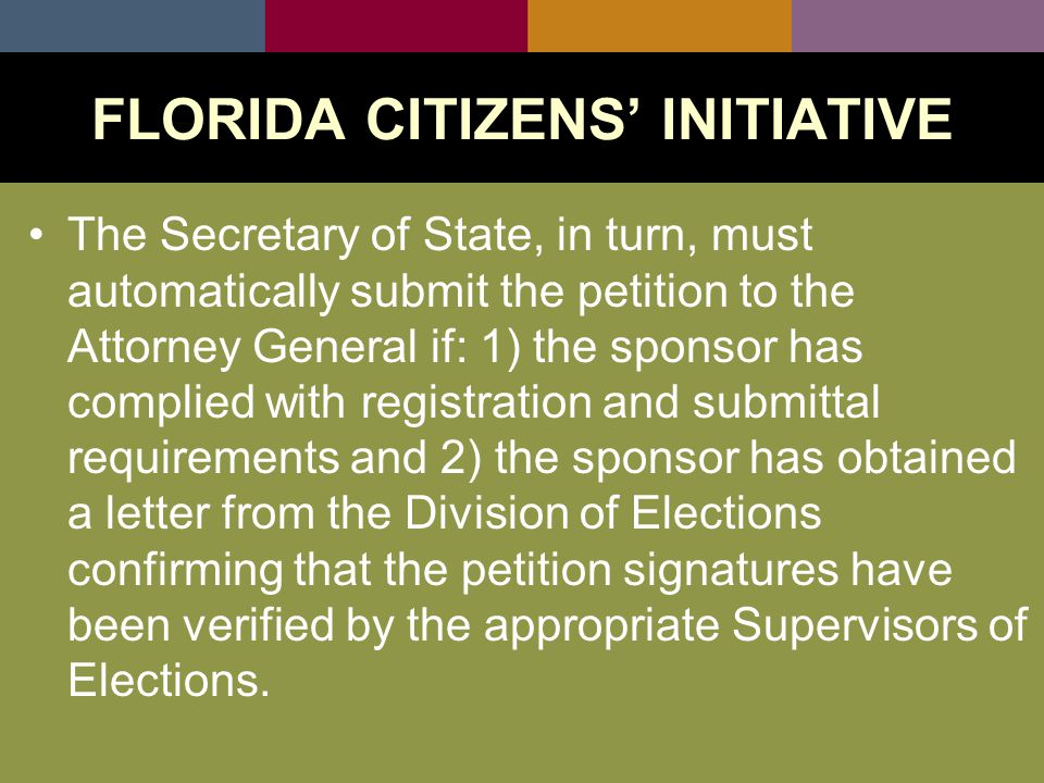 Within 30 days of receiving the proposed amendment, the Attorney General must petition the Supreme Court and request an advisory opinion regarding compliance with the proposed ballot and substance requirements.