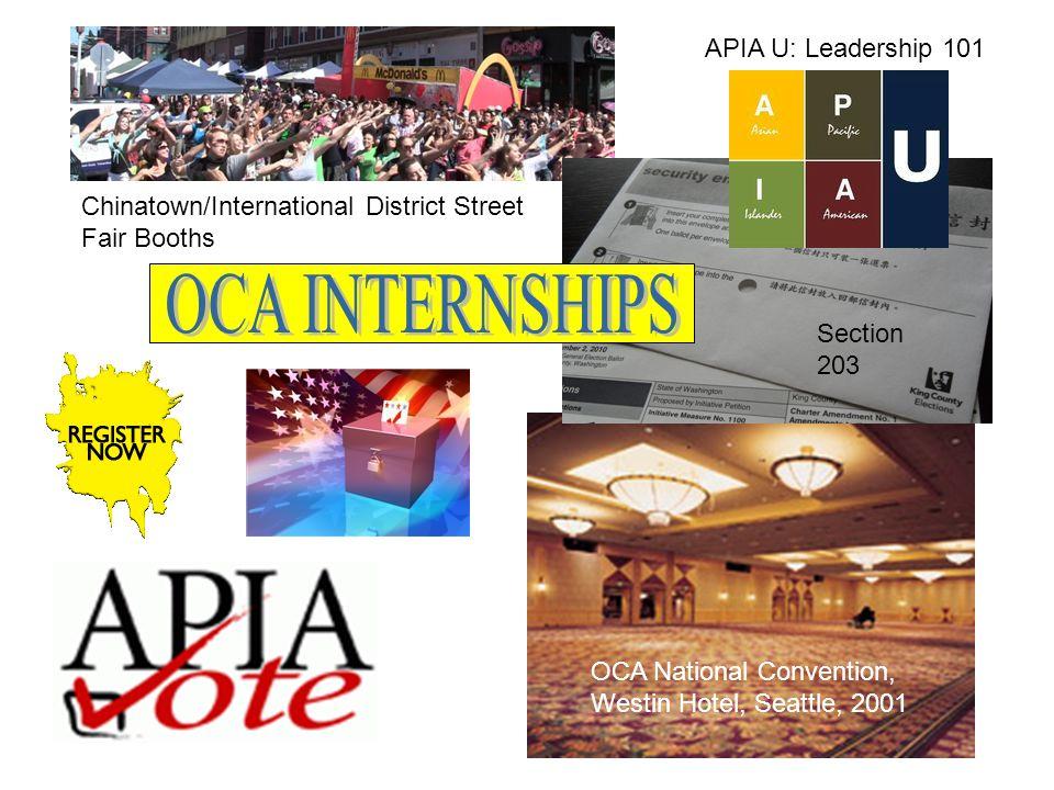 OCA National Convention, Westin Hotel, Seattle, 2001 APIA U: Leadership 101 Chinatown/International District Street Fair Booths Section 203