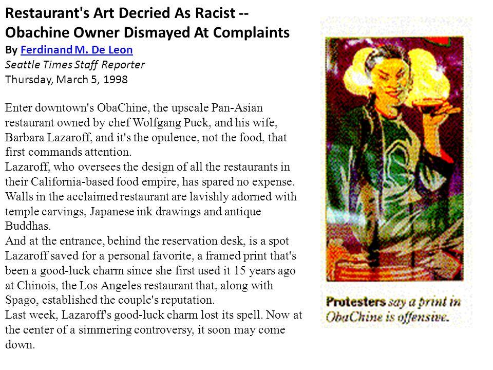 Restaurant s Art Decried As Racist -- Obachine Owner Dismayed At Complaints By Ferdinand M.
