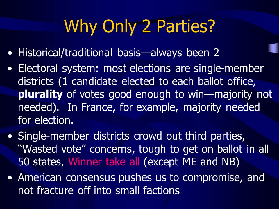 Why Only 2 Parties? Historical/traditional basis—always been 2 Electoral system: most elections are single-member districts (1 candidate elected to ea